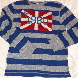 Gymboree blue/grey stripe UK flag Sz 12